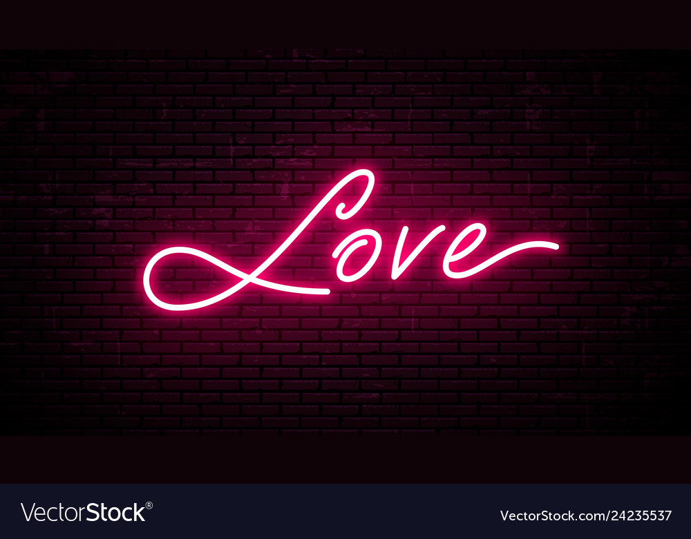 Love red neon inscription