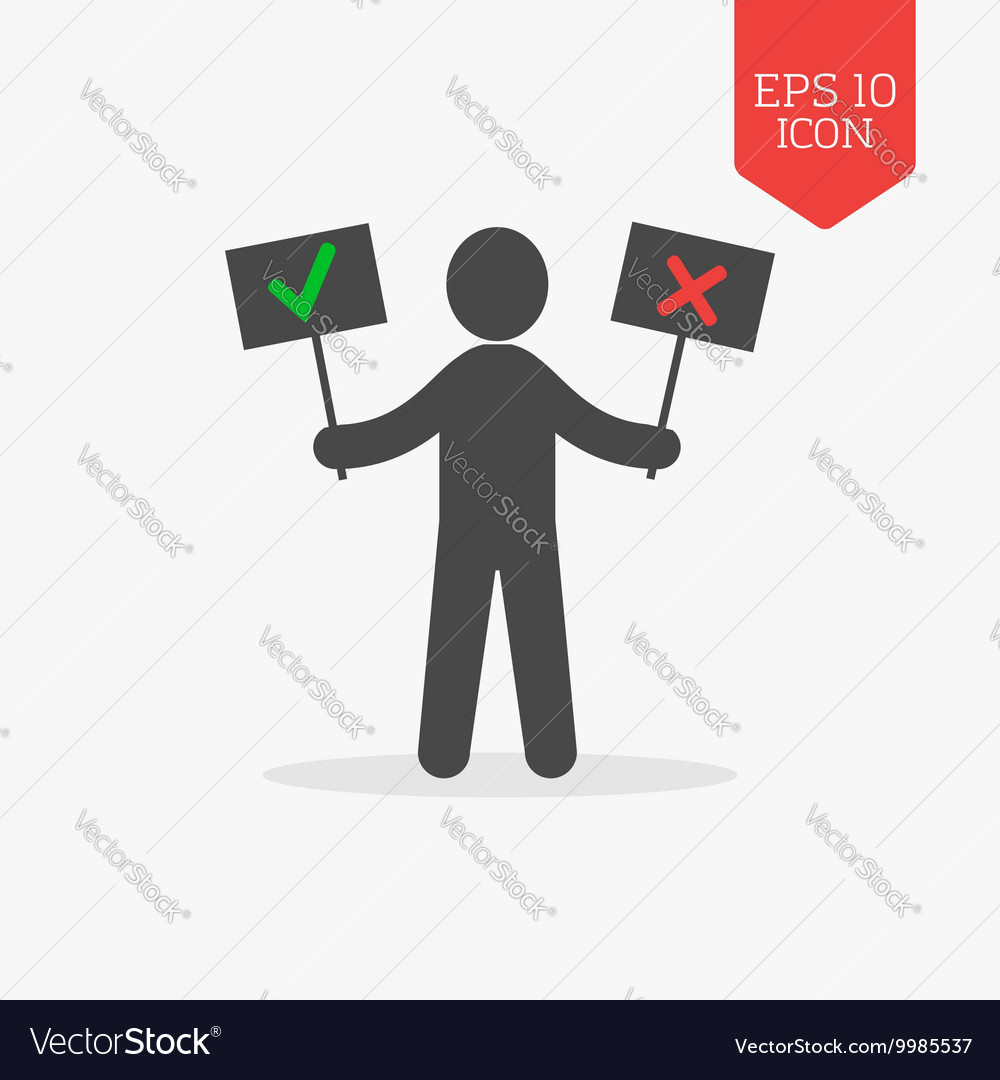 Man holds right and wrong signs icon Flat design