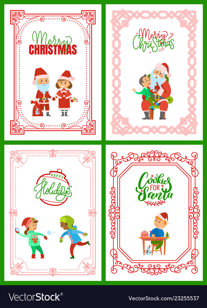Merry Christmas Writing Clipart.Merry Christmas Greeting Cards With Santa Claus
