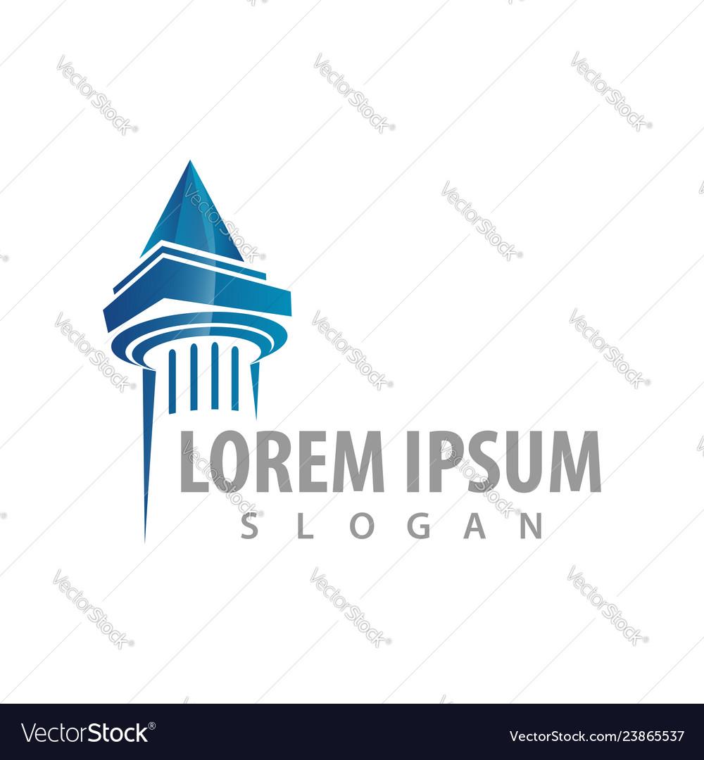 Pillar blue logo concept design symbol graphic
