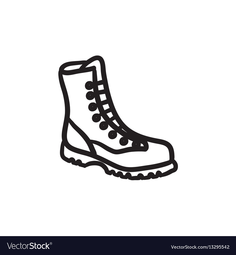 Boot with laces sketch icon
