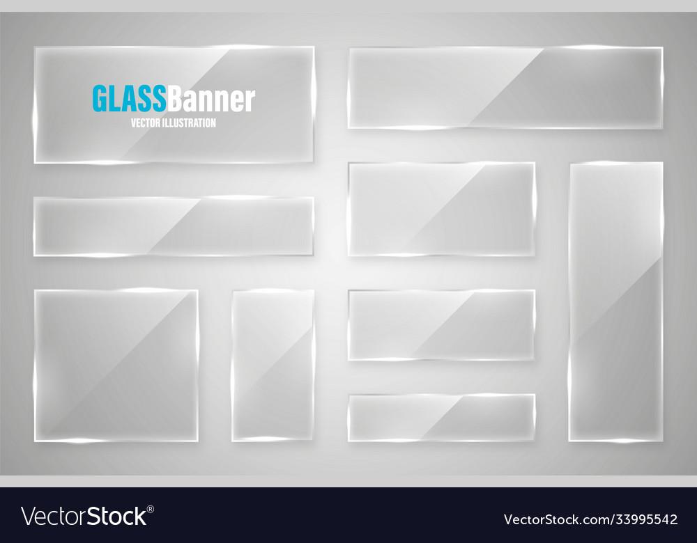 Glass frame realistic glossy transparent glass