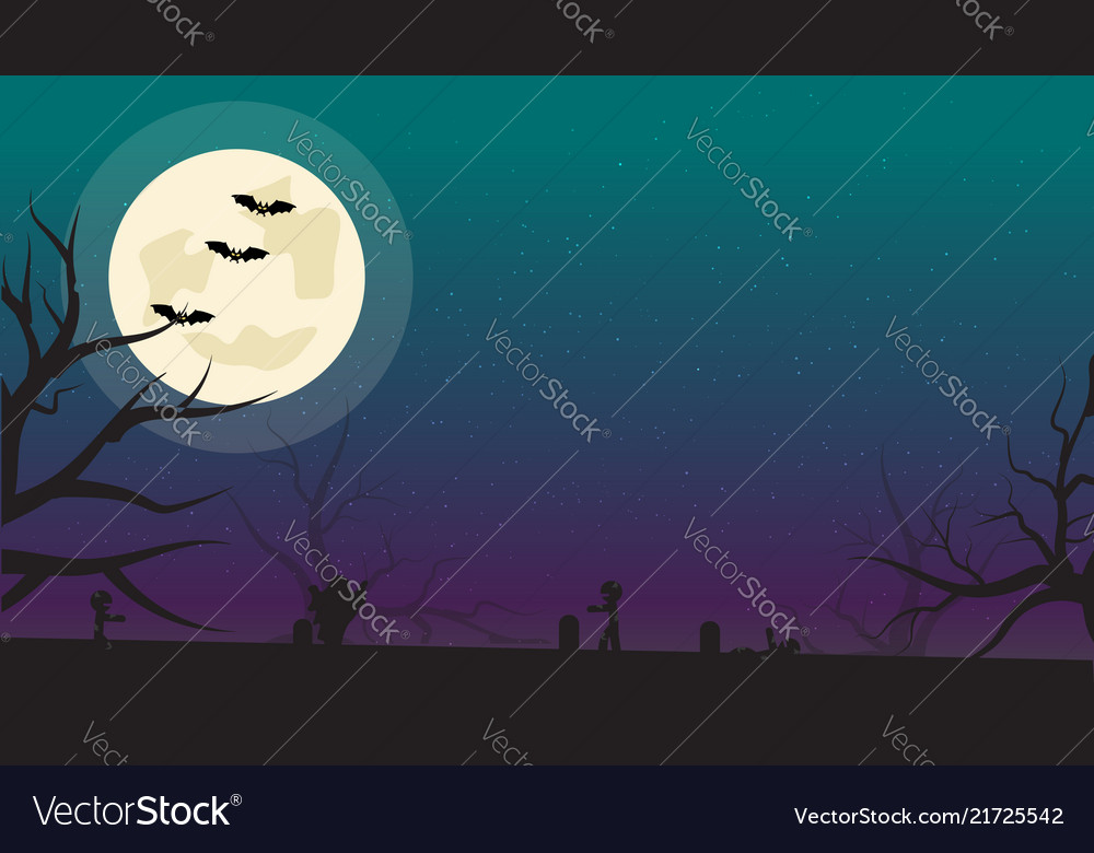 Halloween background with bats zombies and full