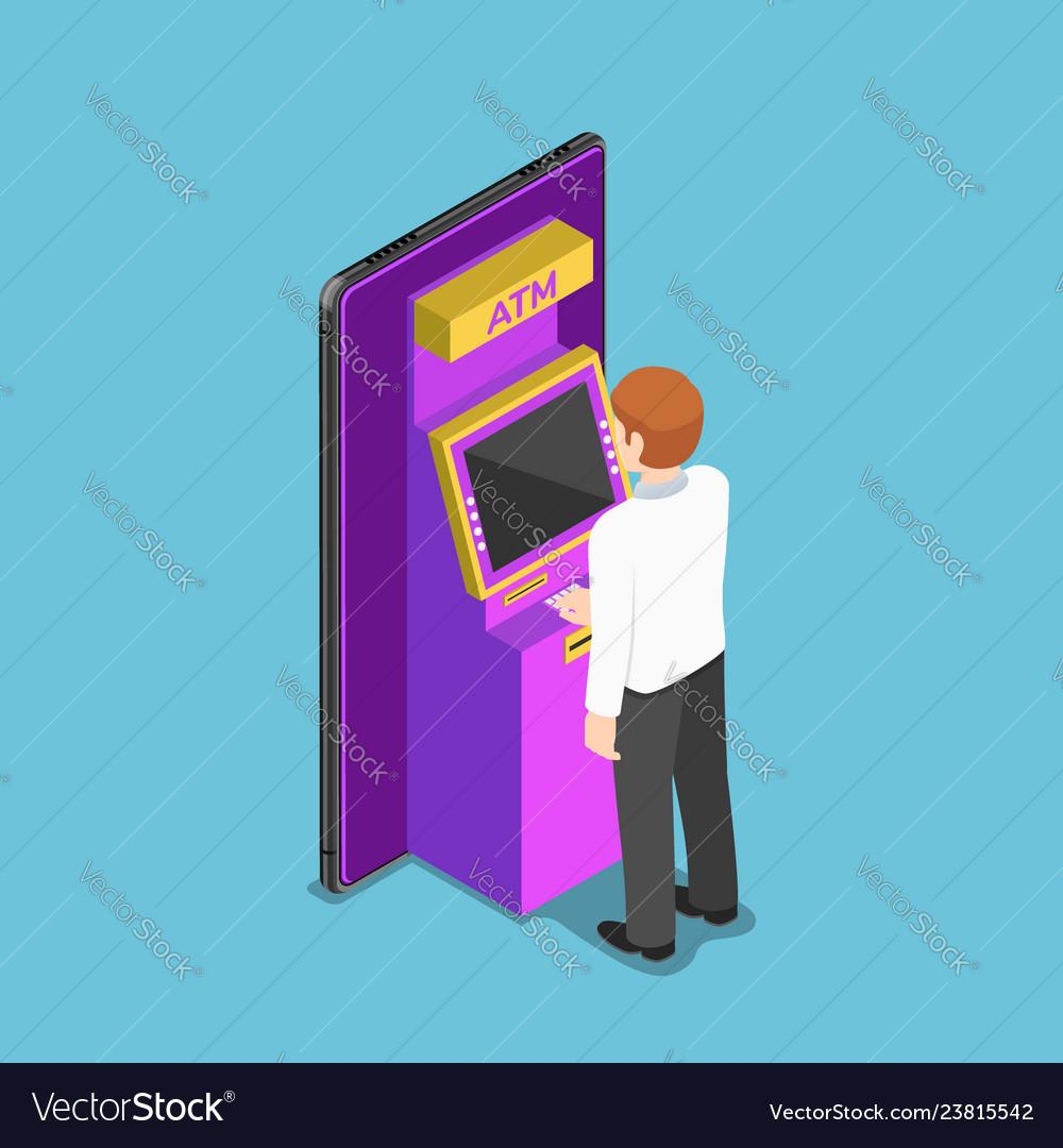 Isometric businessman using an atm machine on