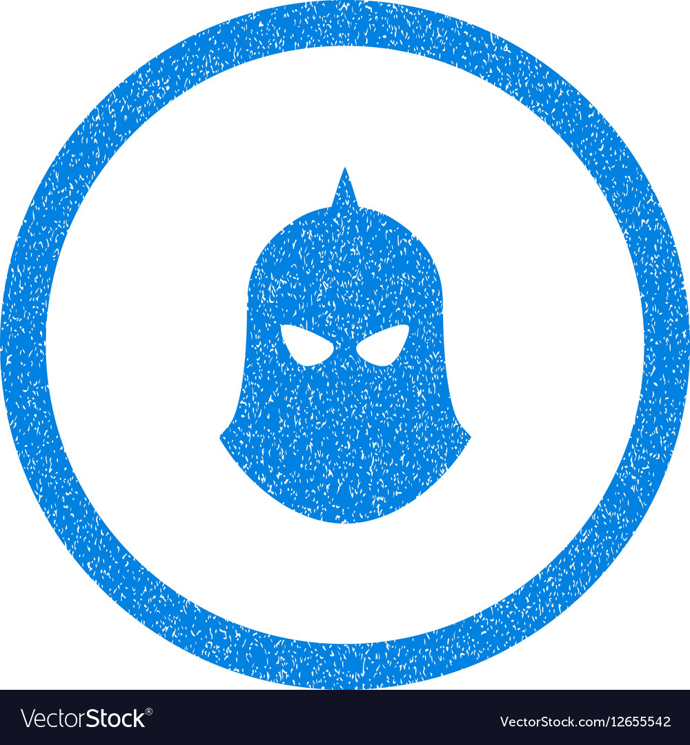Knight Helmet Rounded Icon Rubber Stamp vector image