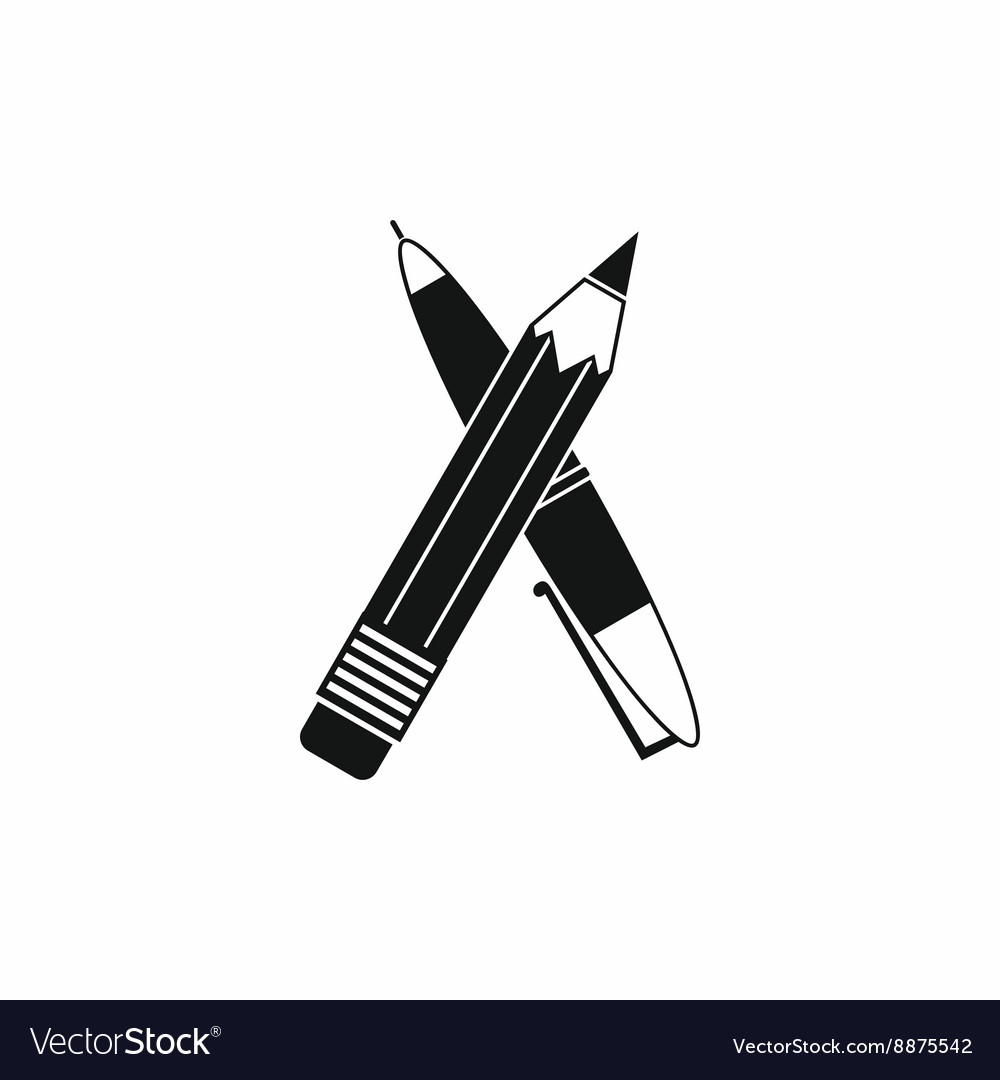 Pen and pencil icon simple style