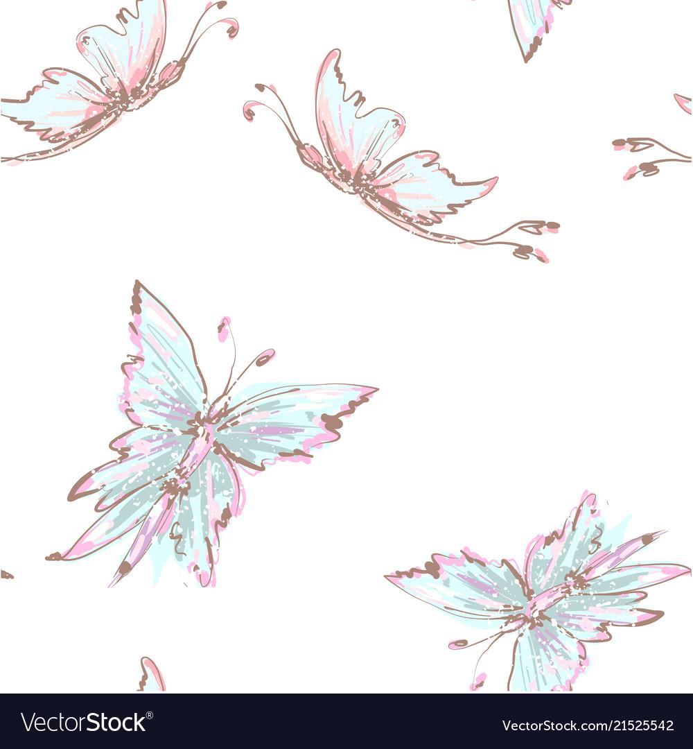 Seamless background from tender butterflies