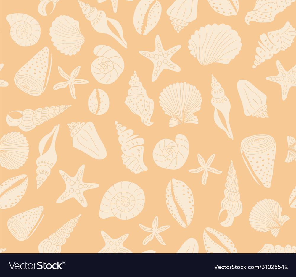 Seashells seamless pattern coral orange