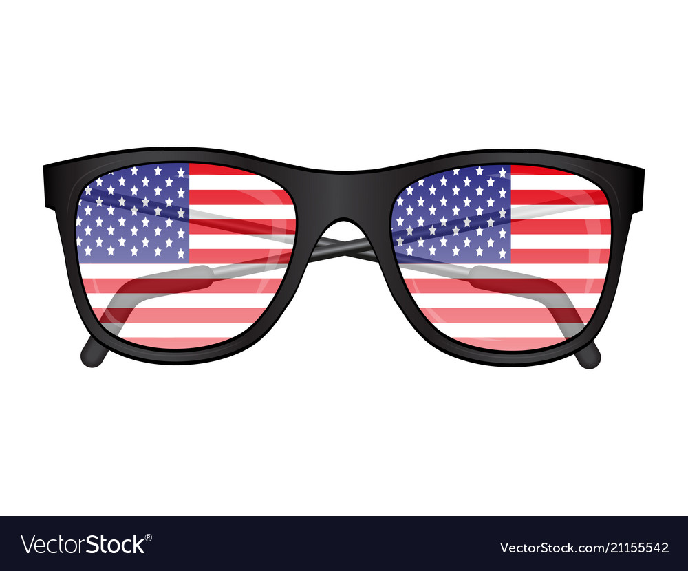 a5c62223506 Sunglasses with american flag reflection vector image jpg 1000x830 American  flag glasses