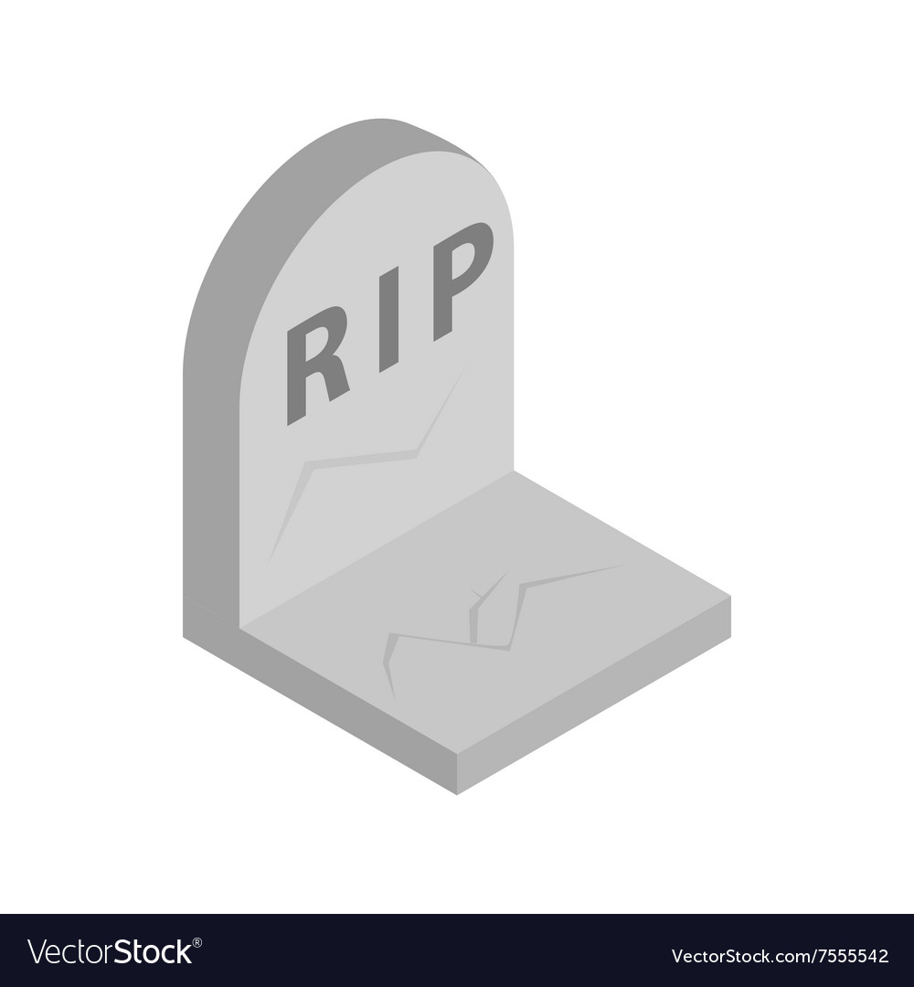 Tombstone with RIP isometric 3d icon