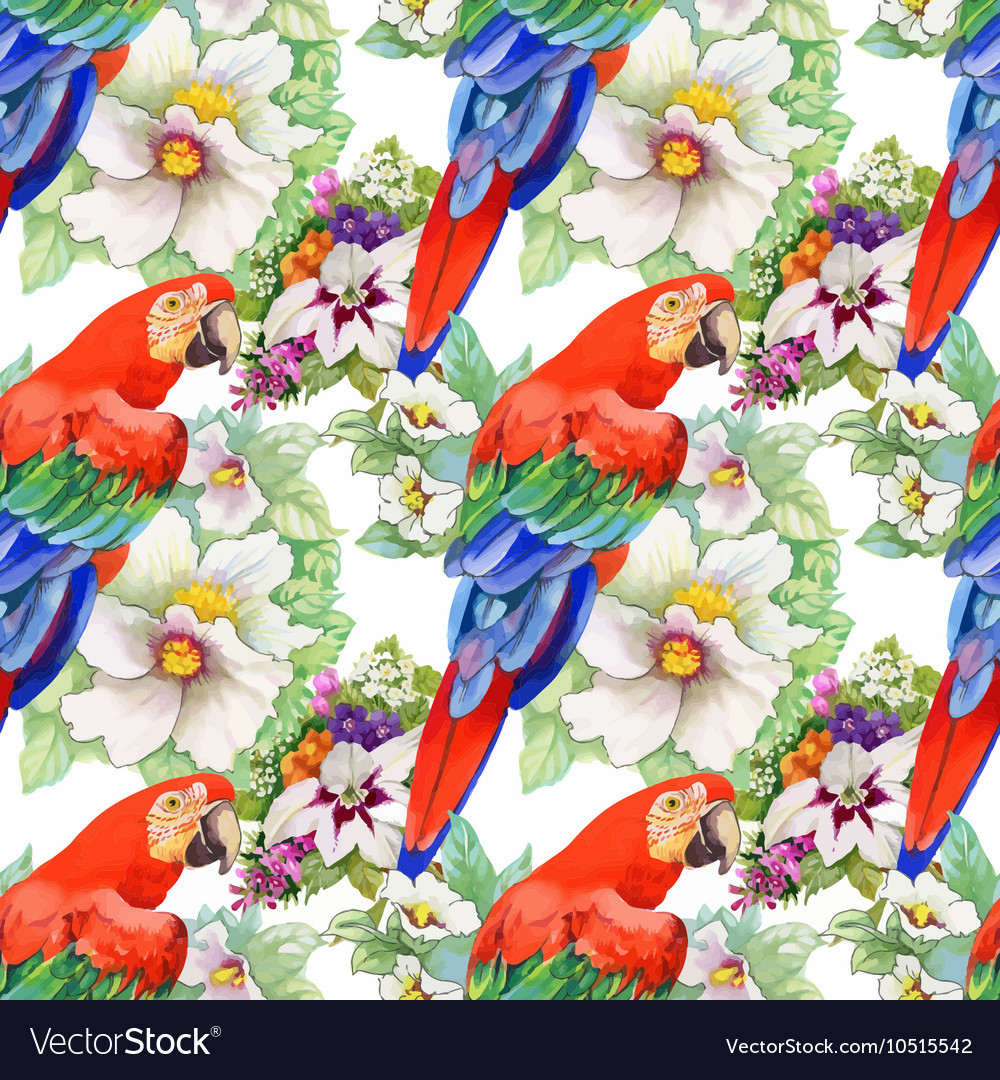 Watercolor seamless pattern with parrots and white