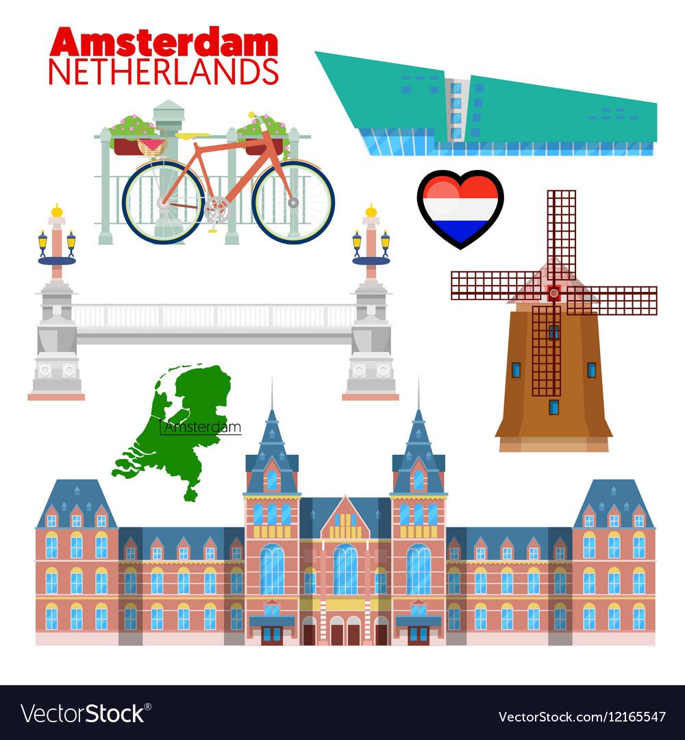 Amsterdam Netherlands Travel Doodle