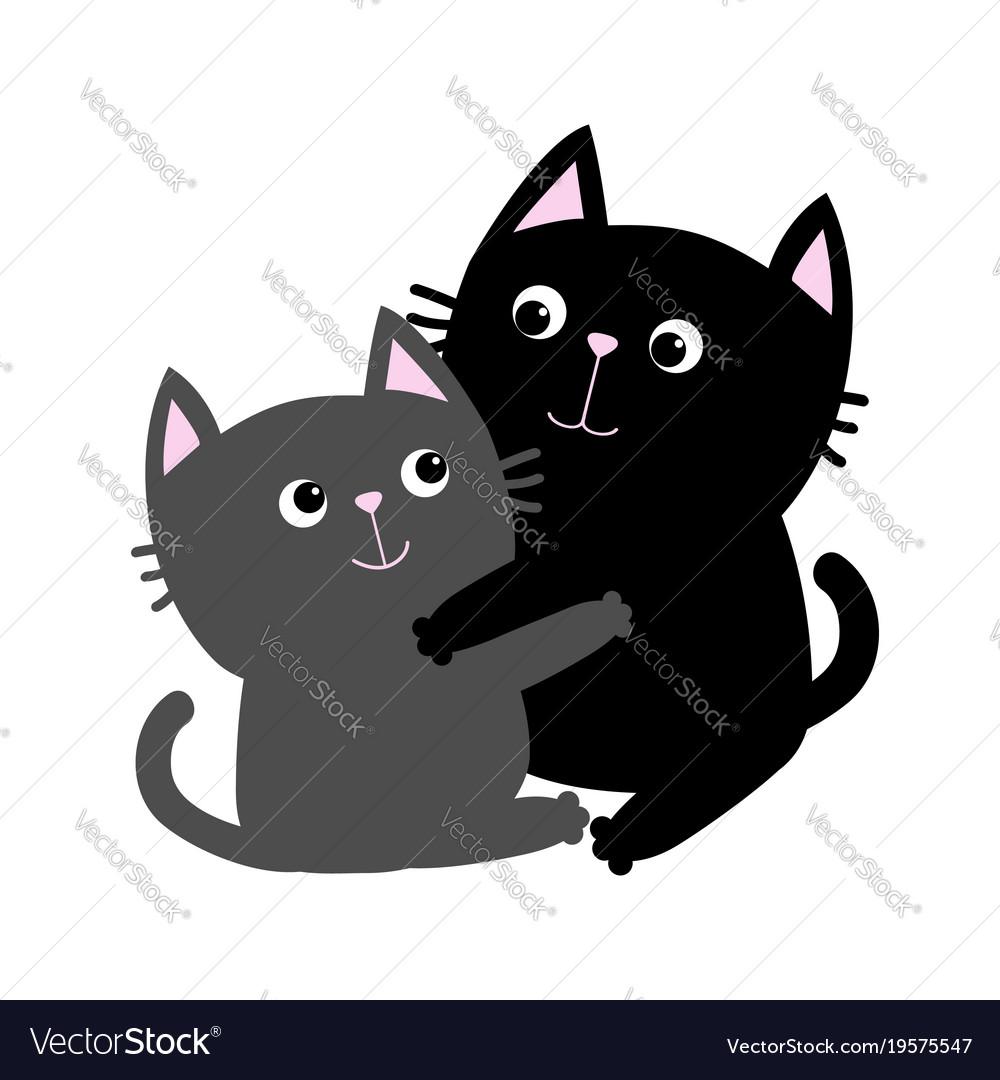 Black gray cat hugging family couple hug embrace