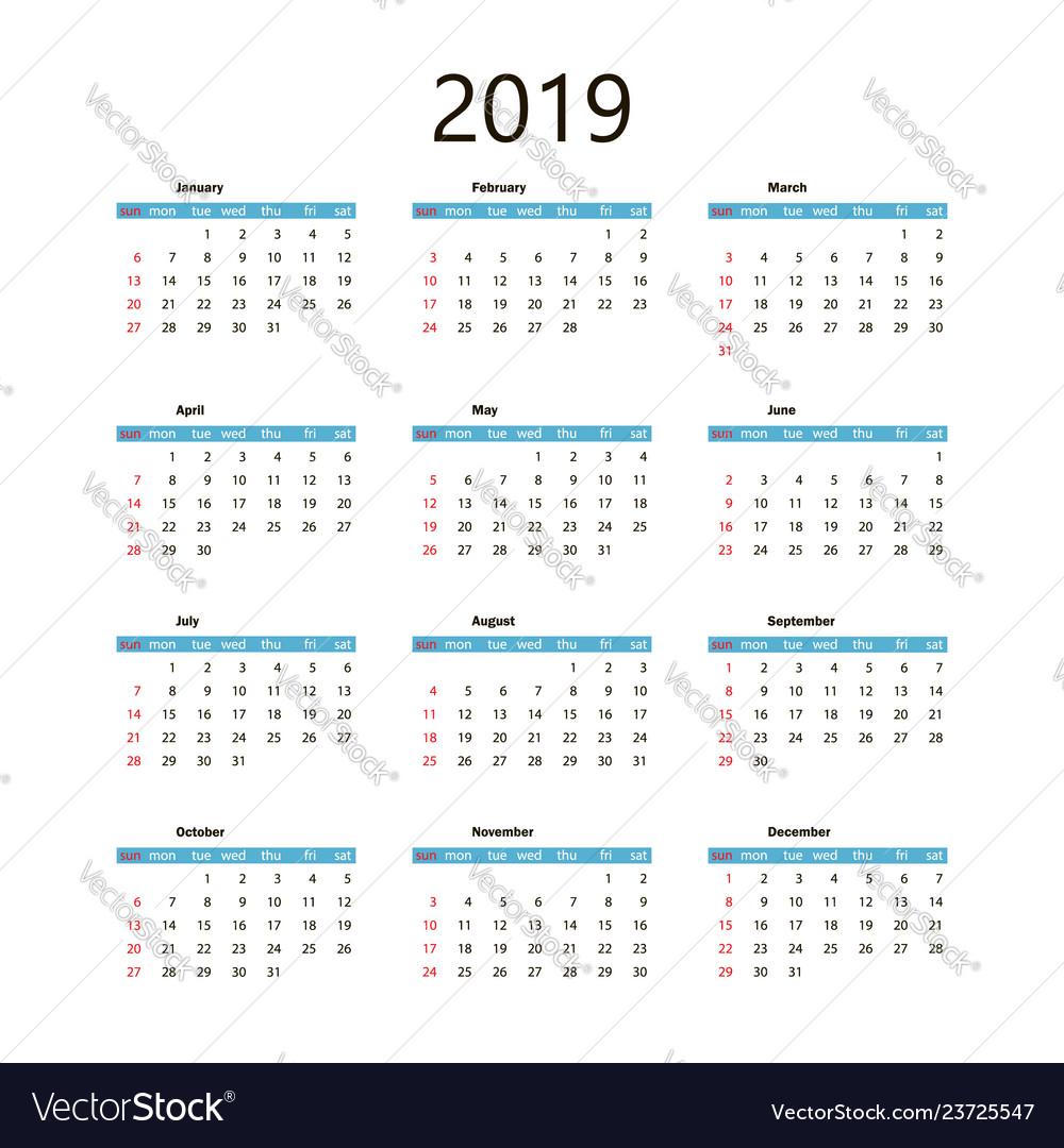 Calendar 2019 template