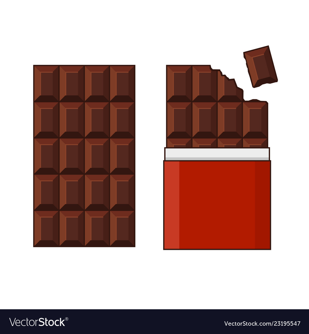 Chocolate bar set on white background