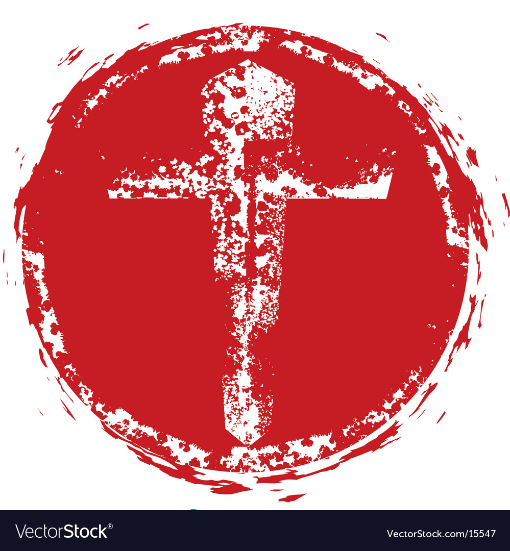 Christian cross grunge stamp