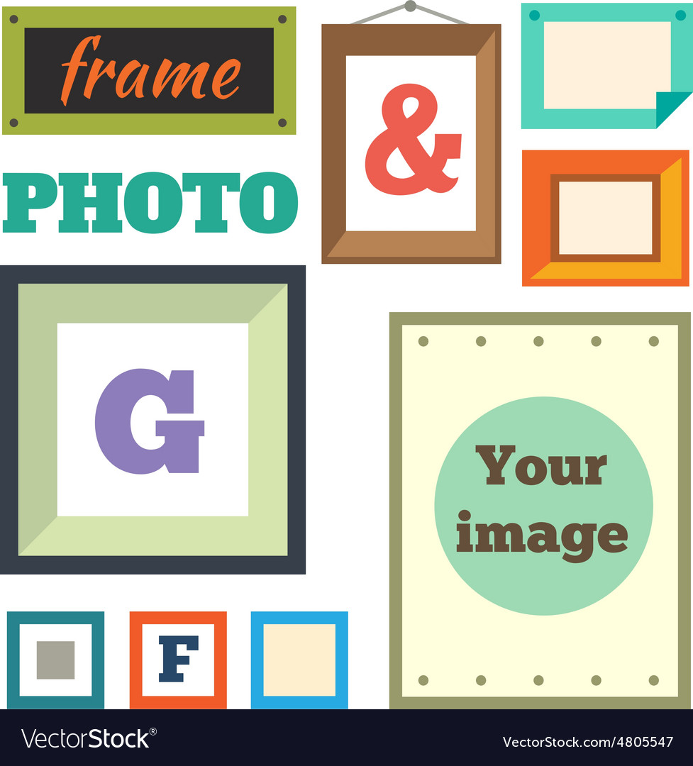 Colorful photo frames in flat style Royalty Free Vector