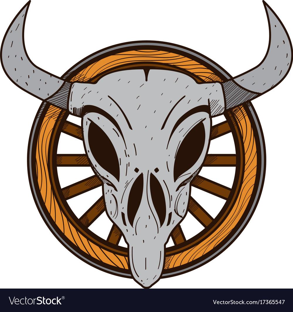 Cow skull on a wheel wild west theme tattoos