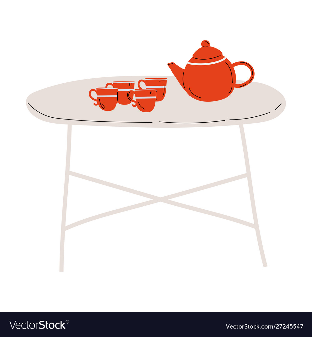 Folding tea table with red cups and teapot