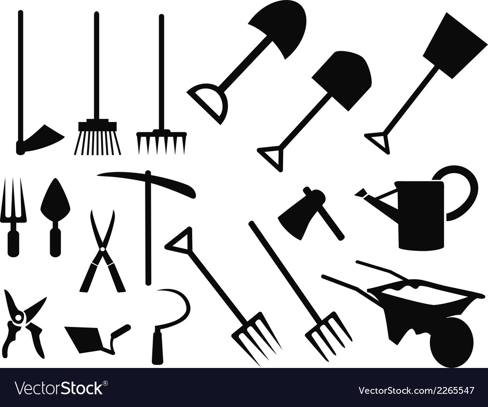 Gardening tools Silhouette set Royalty Free Vector Image
