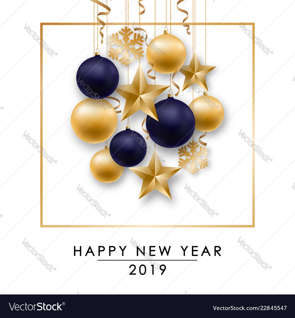 Happy new year design with shiny golden and blue