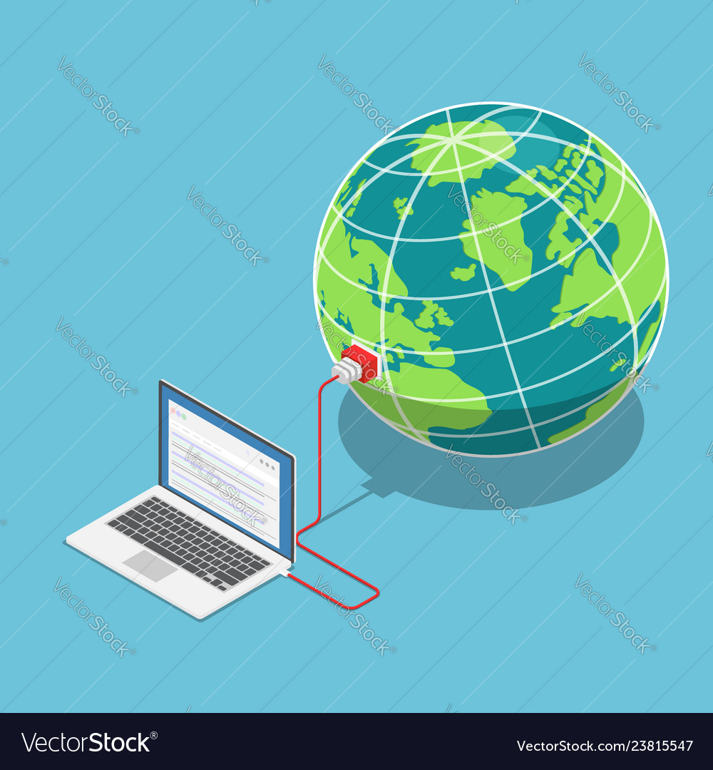 Isometric laptop connected to world
