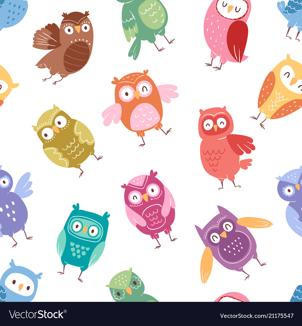 Owls cartoon cute bird set cartoon owlet