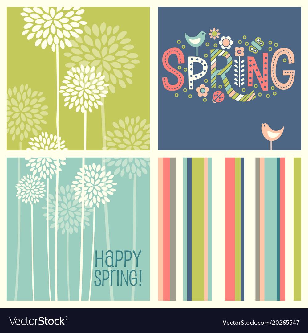 Retro spring flowers doodles and stripes