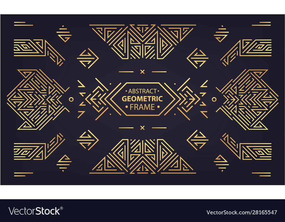 Set art deco design elements golden