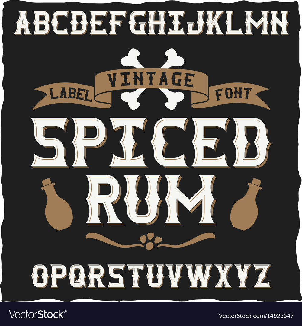 Vintage typeface for alcohol drinks vector image