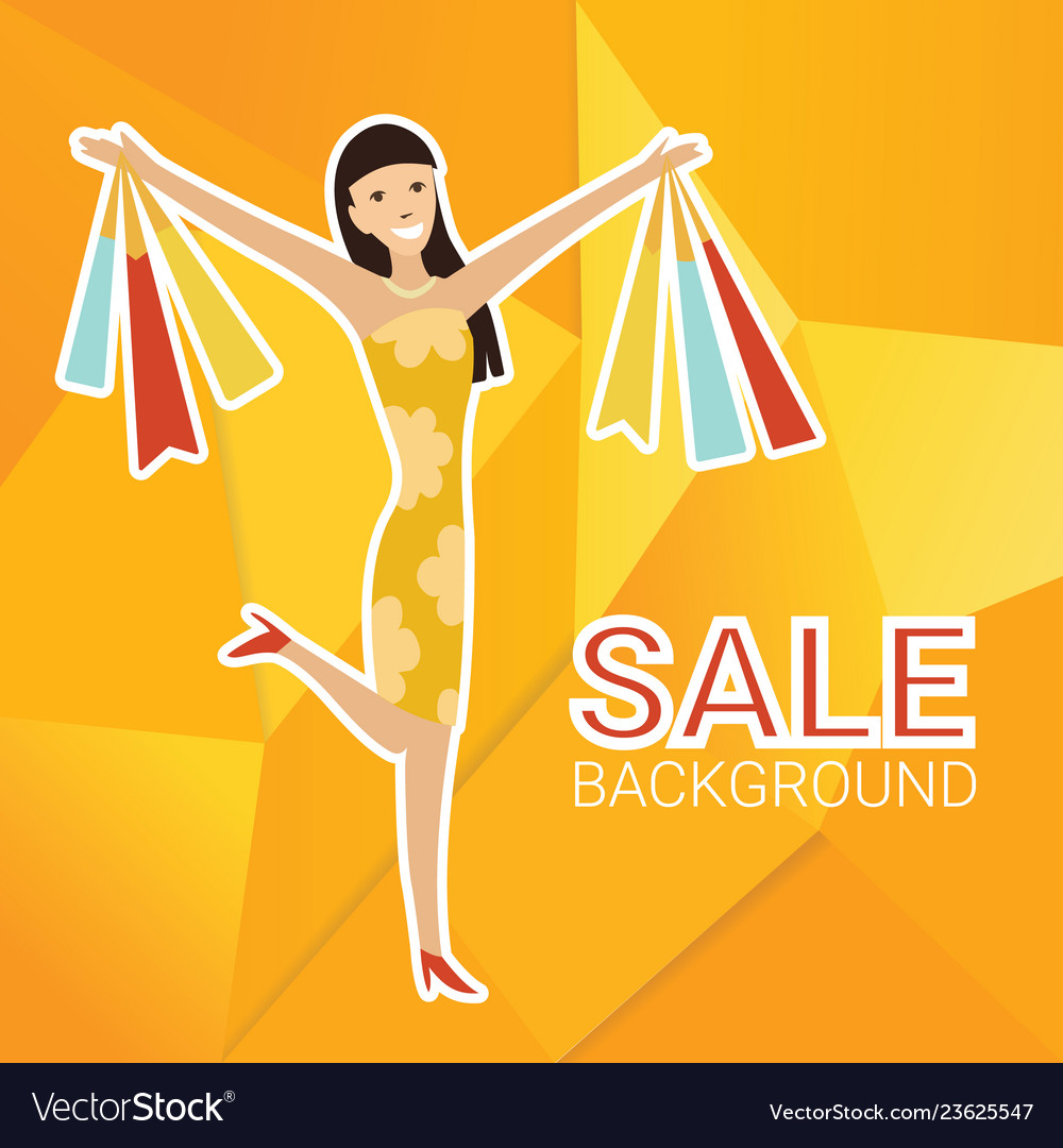 Woman with shopping bags design template