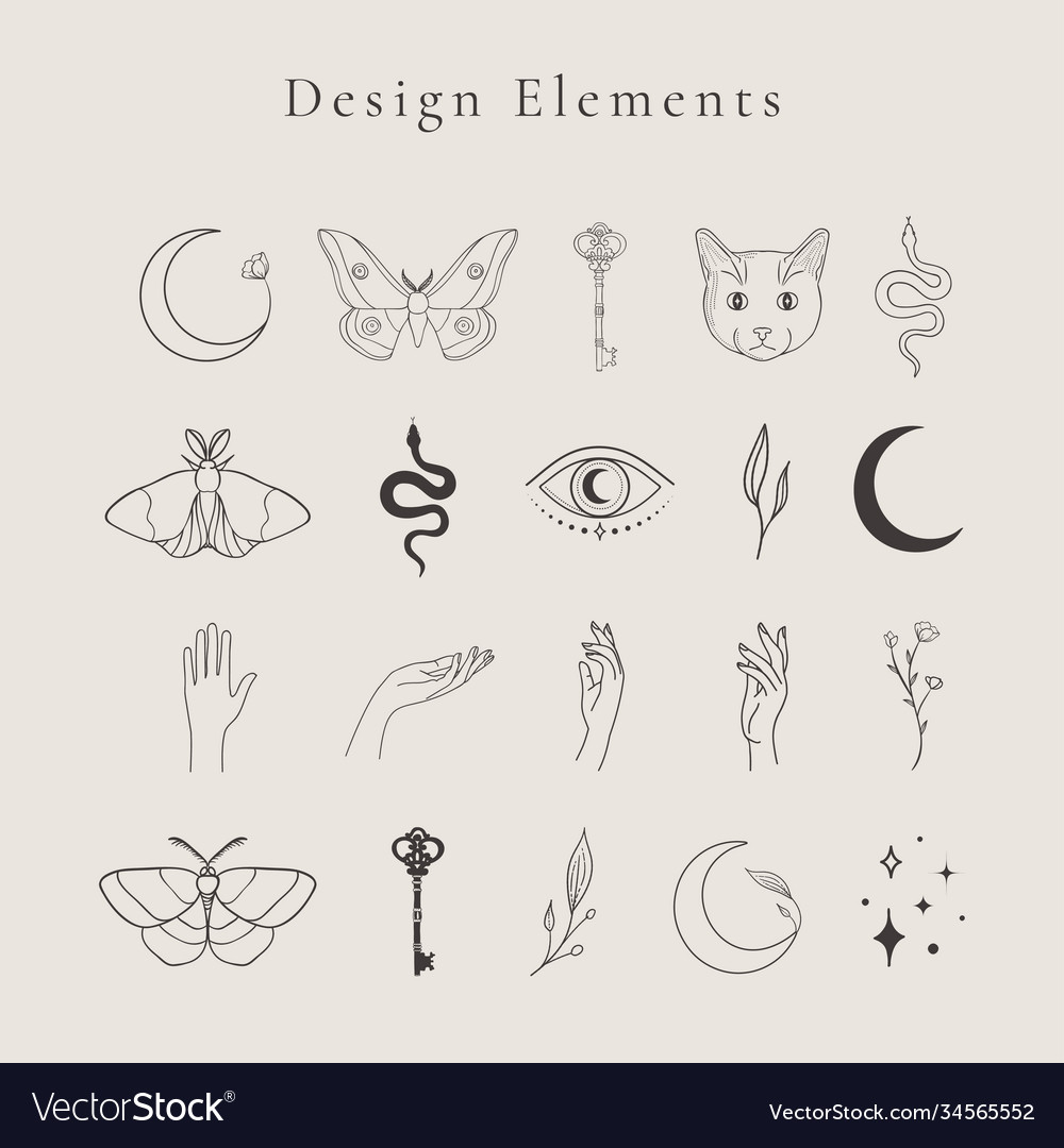 Abstract line drawing logo design elements