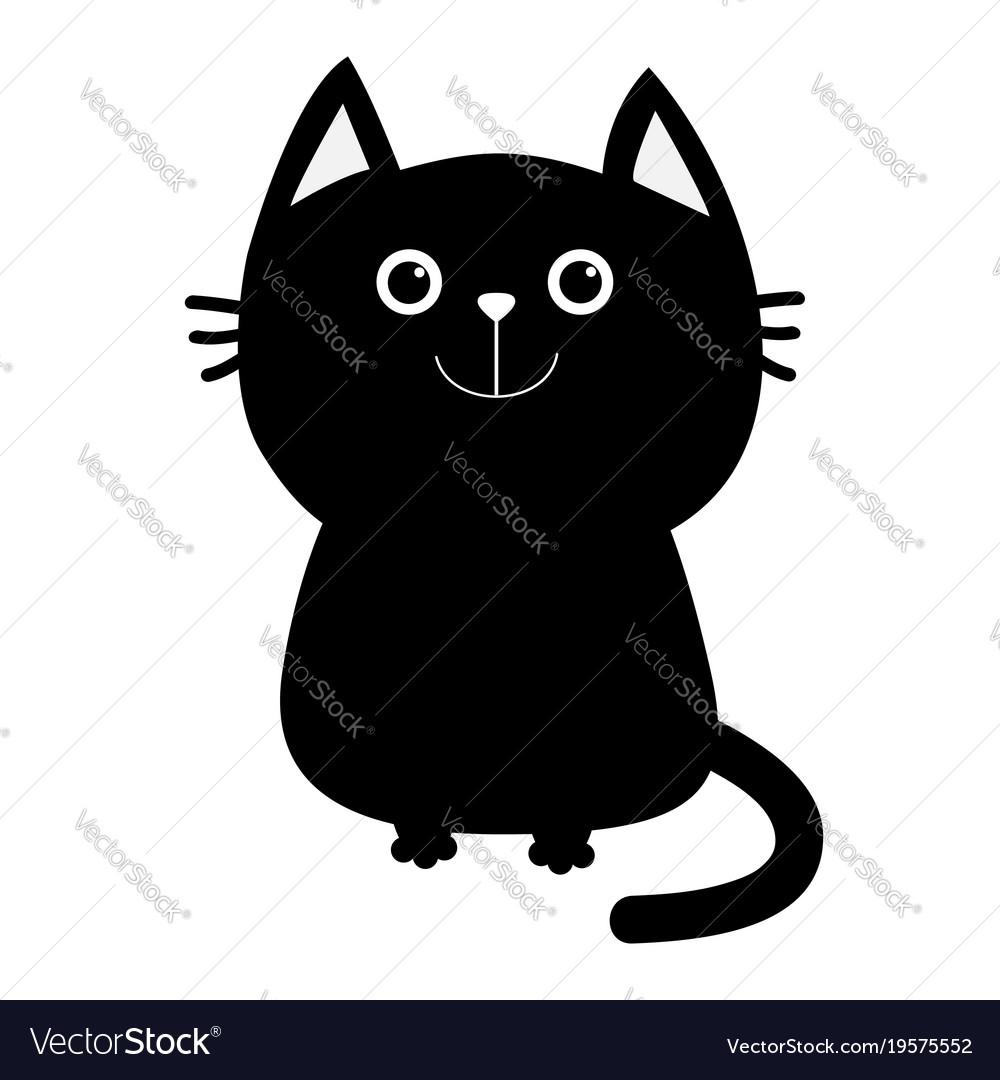 Black Cat Icon Cute Funny Cartoon Smiling Vector Image