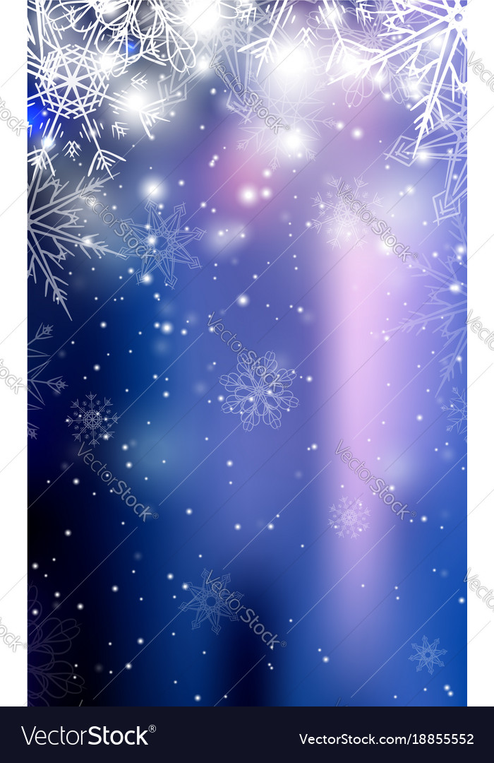 Blurred blue christmas winter background with