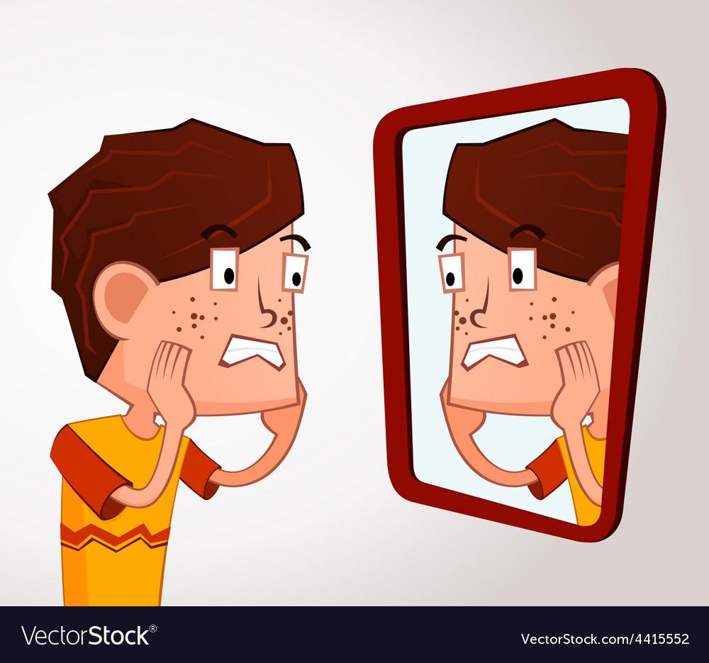 Boy with acne problem