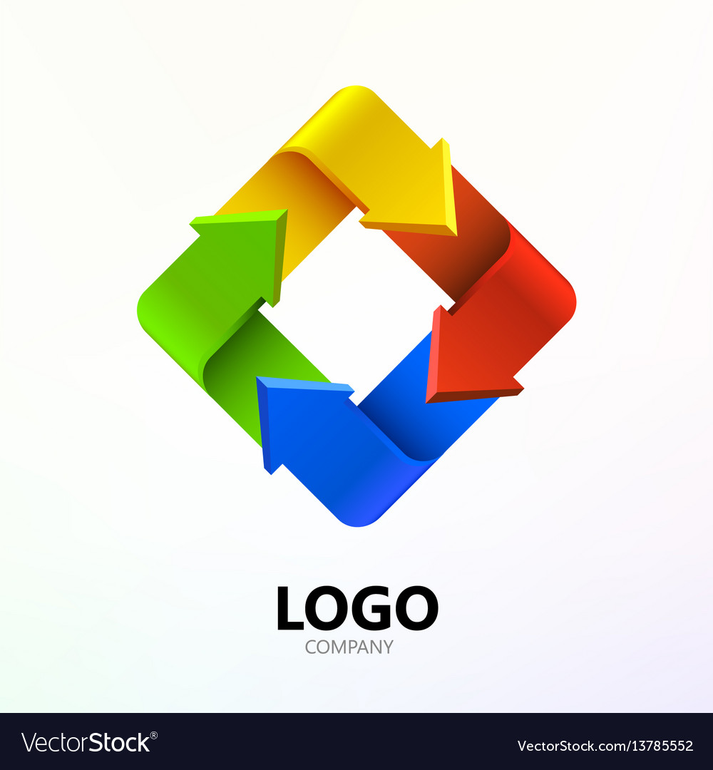 Colorful arrows in form of rectangle logo company