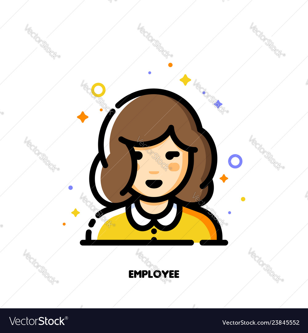 Female user avatar of employee icon of cute girl