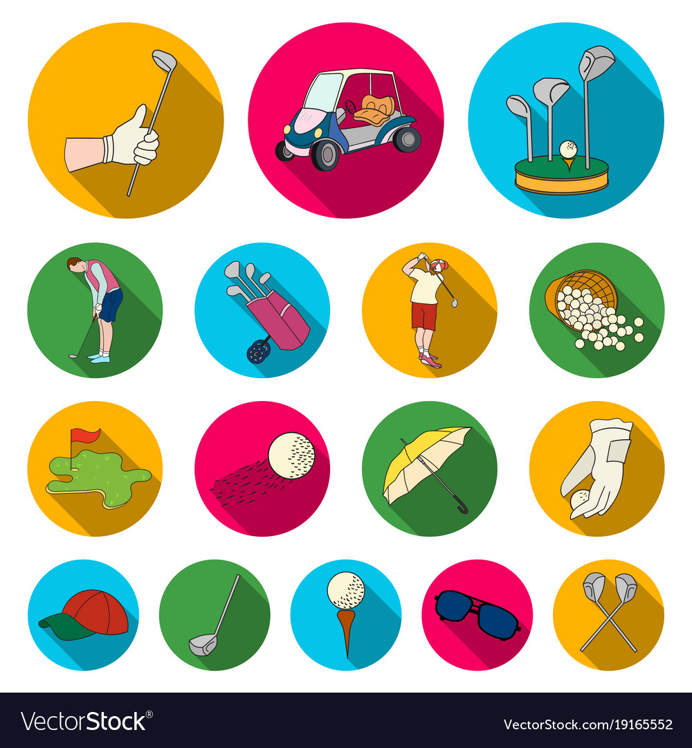 Golf and attributes flat icons in set collection