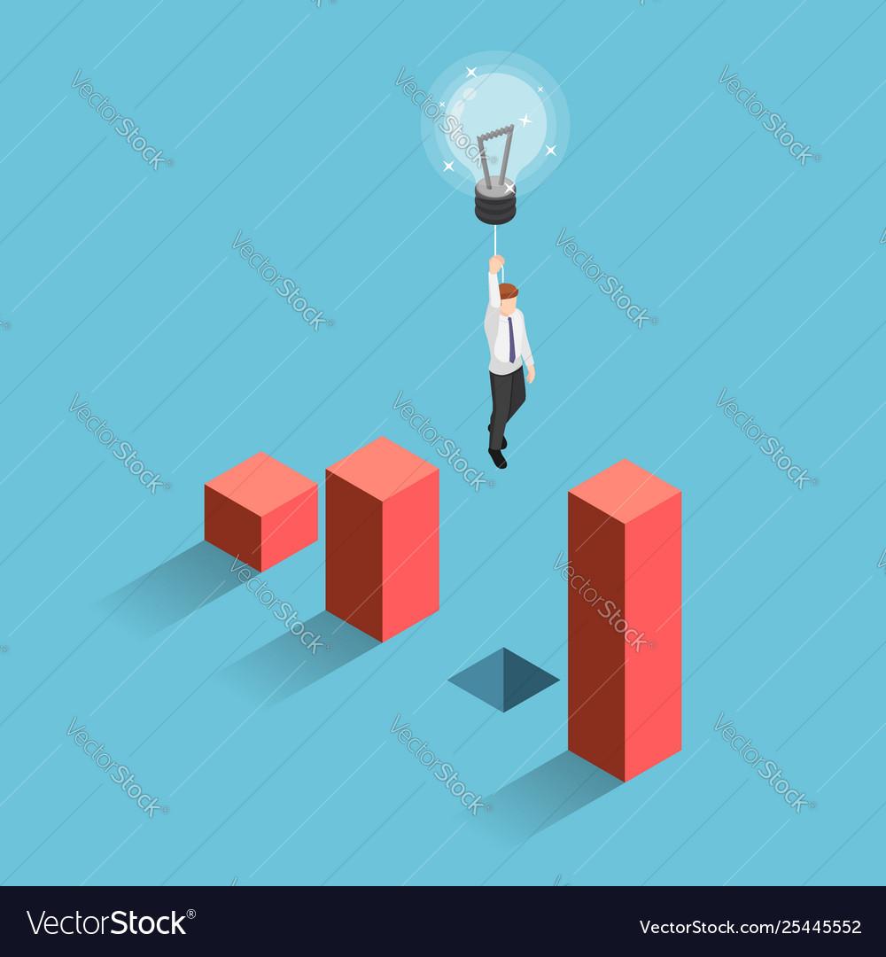 Isometric businessman use lightbulb balloon to