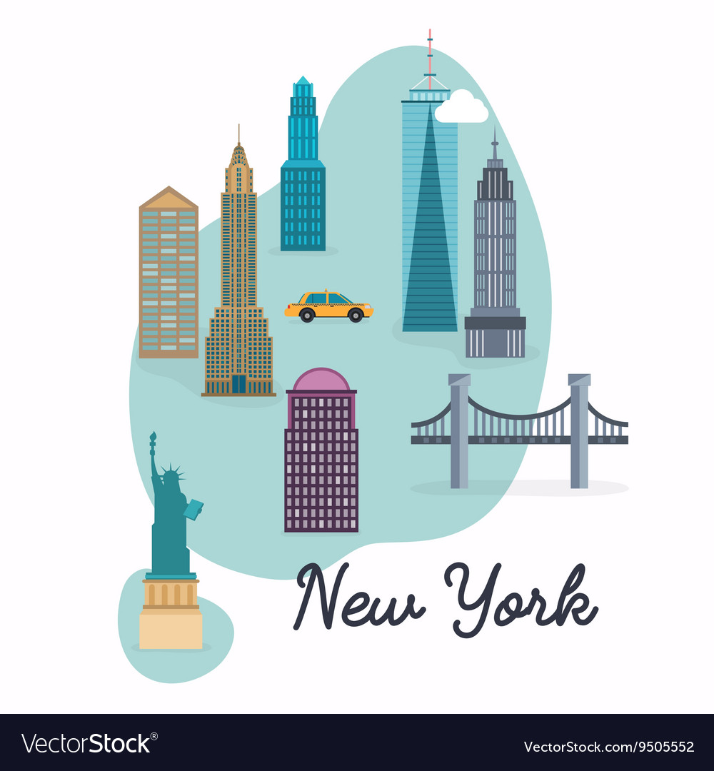 New York City Travel map and landscape of