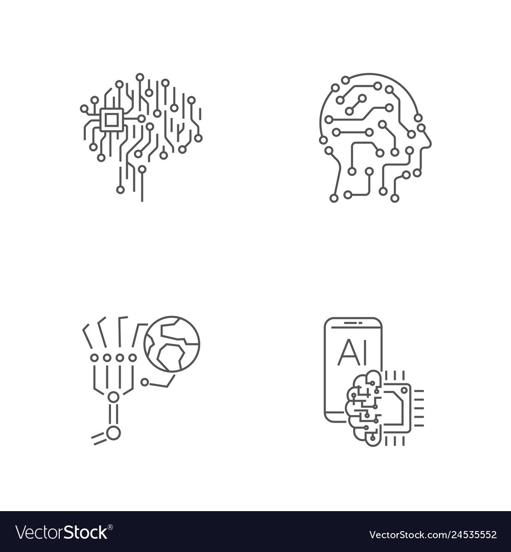 Simple set of digital technology icons ai iot