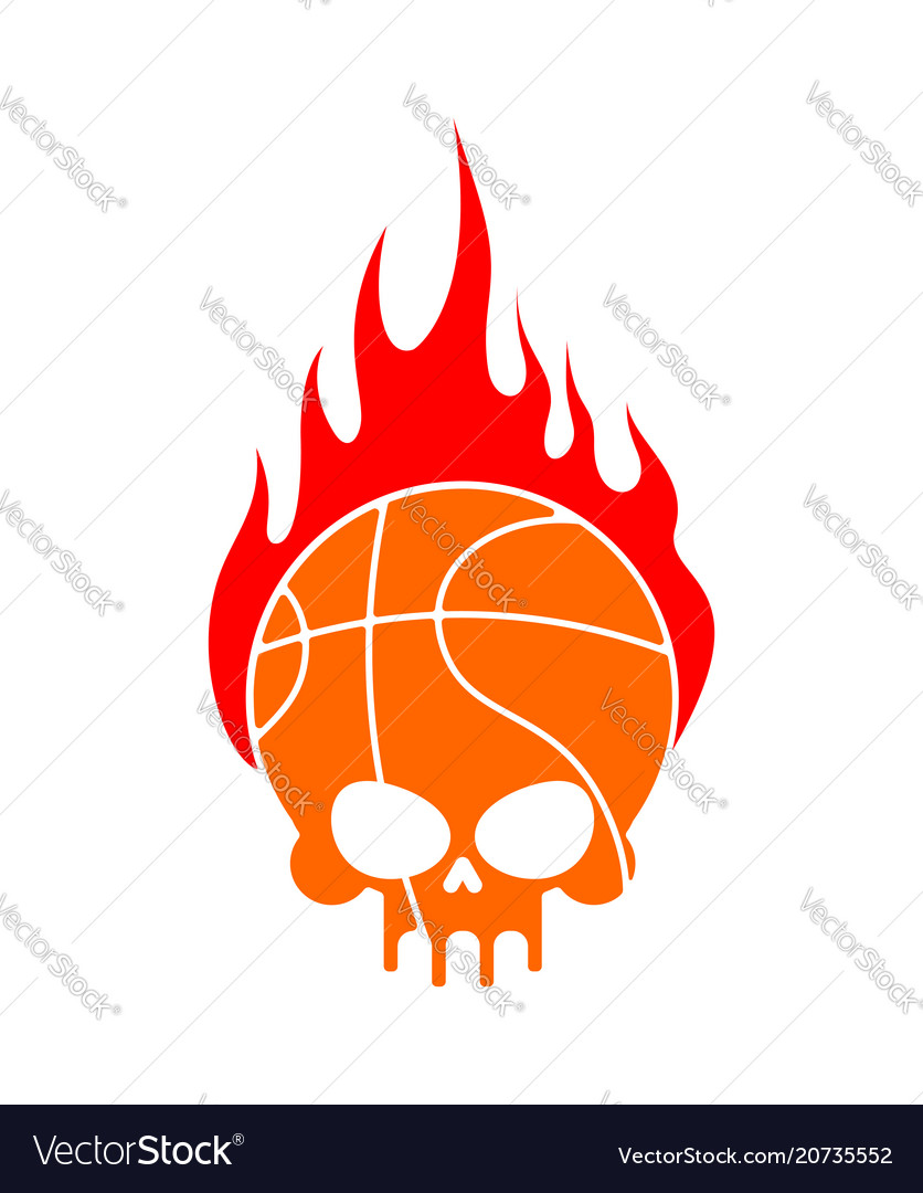 Skull basketball and fire ball is head of