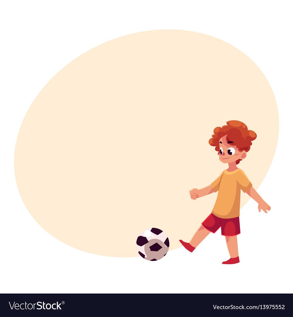 Teenage caucasian boy kicking football ball at