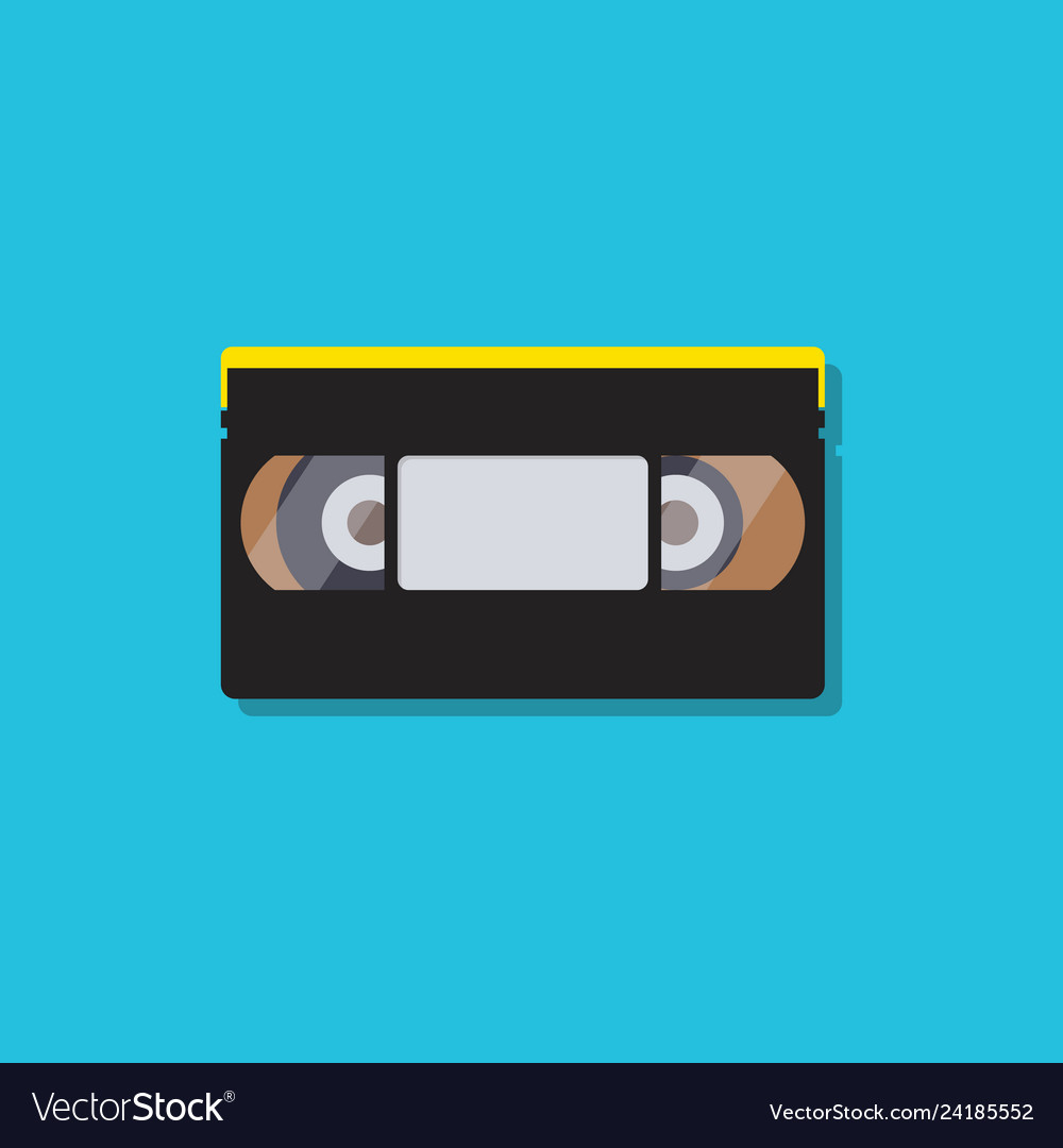 Video cassette tapes in flat style