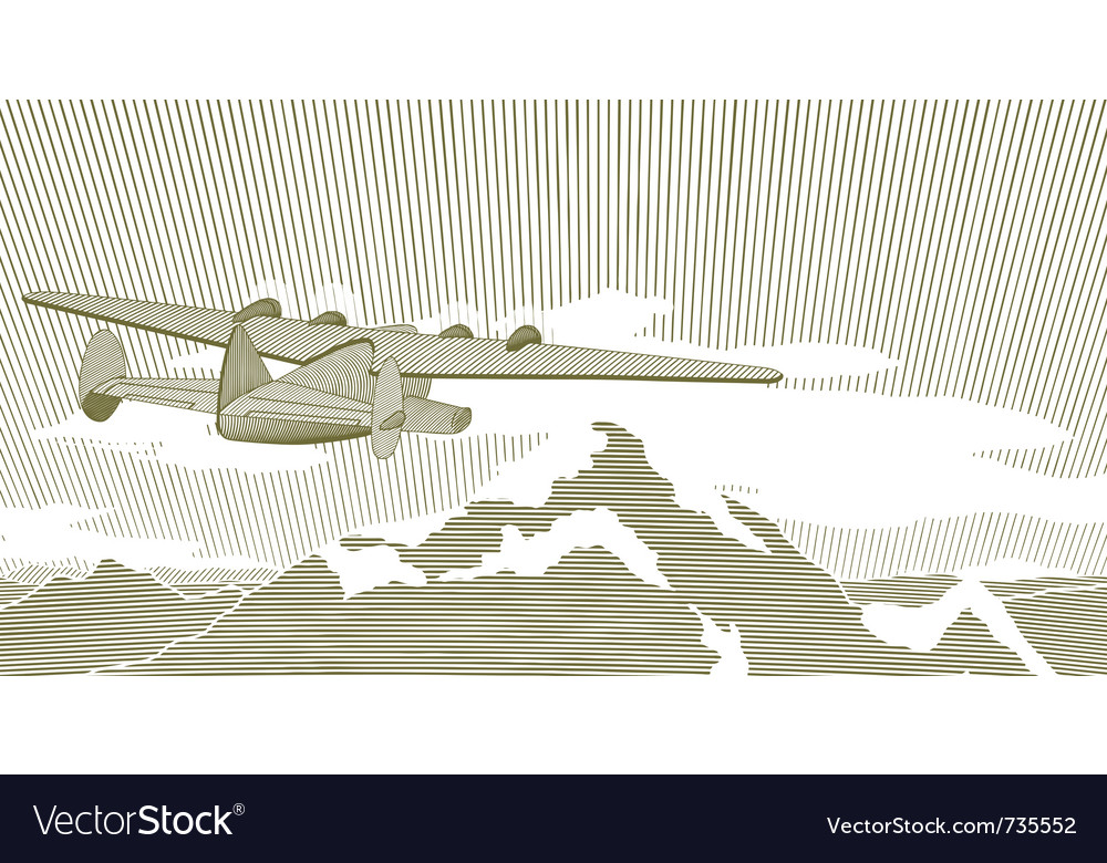 Woodcut clipper scene vector image
