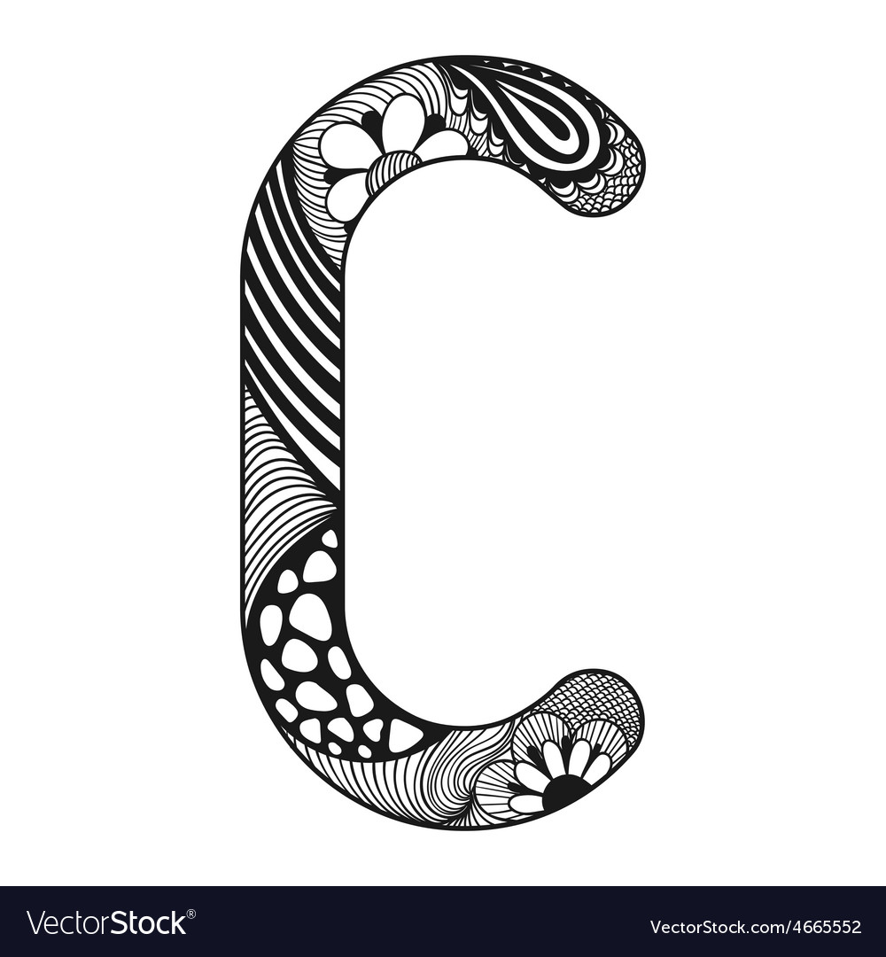 Zentangle stylized alphabet Lace letter C in vector image