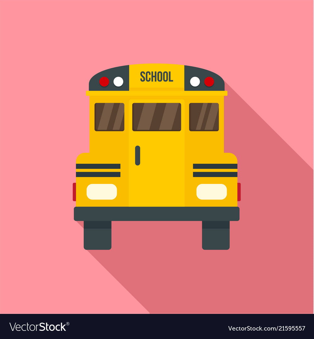 Back of old school bus icon flat style