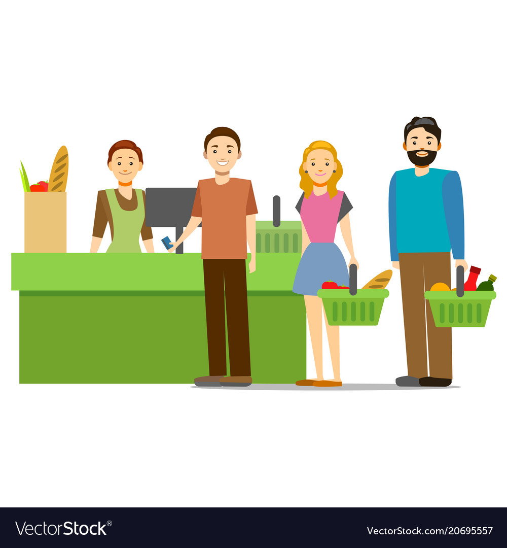Cartoon shopping in supermarket people