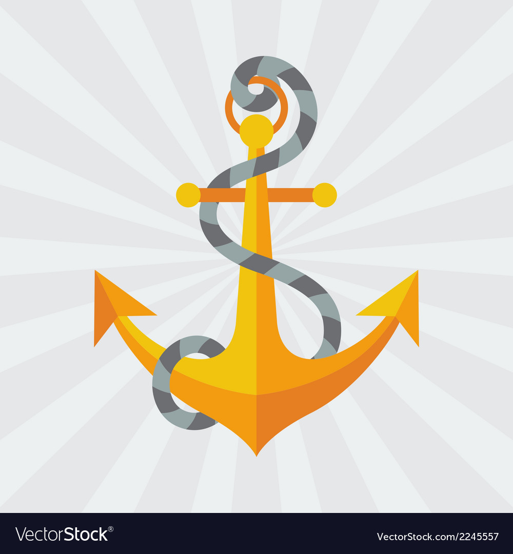 Nautical anchor with rope in flat design style vector image