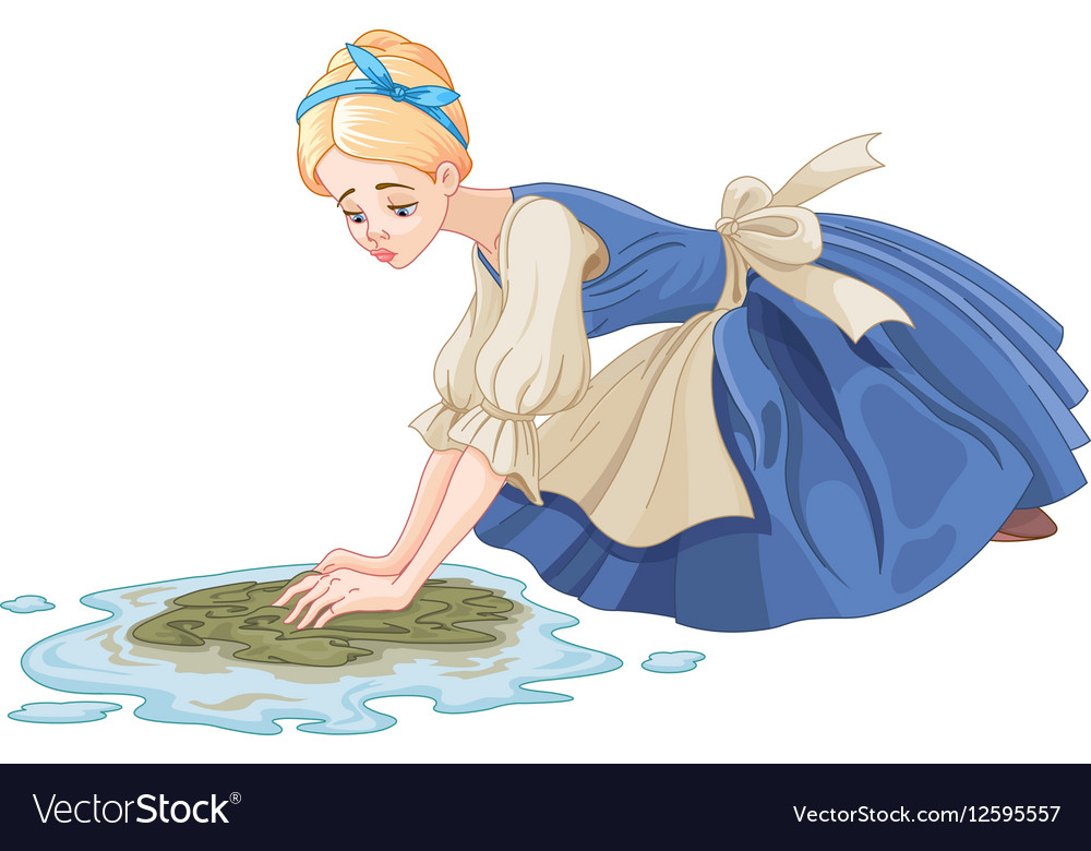 Sad cinderella cleaning the floor royalty free vector image sad cinderella cleaning the floor vector image altavistaventures Image collections